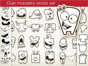 Set Of Vector Monsters Vector Illustrations ball