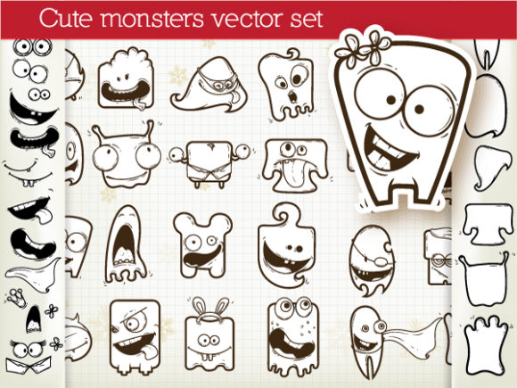 Set Of Vector Monsters Scenes ball
