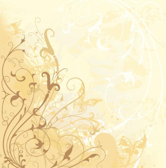 Striking Floral Vector: Grunge Floral Background Vector Illustration 5