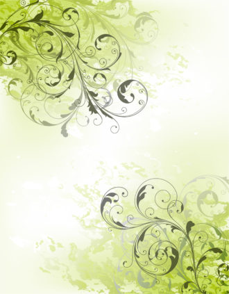 Grunge Green Floral Background Vector Illustration Vector Illustrations old