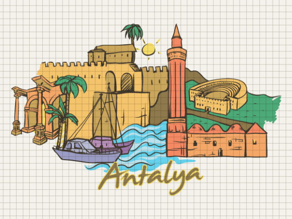 Vector Vector Image: Antalya Doodles Vector Image Illustration 5