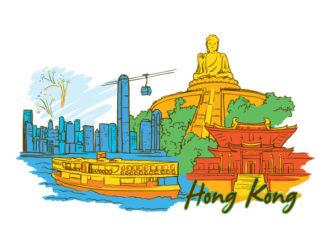 Hong Kong Doodles Vector Illustration Vector Illustrations building
