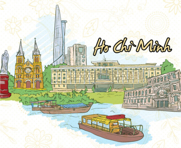 Ho Chi Minh Doodles Vector Illustration Vector Illustrations building