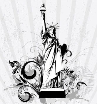 Statue Of Liberty With Floral Vector Illustration Vector Illustrations old