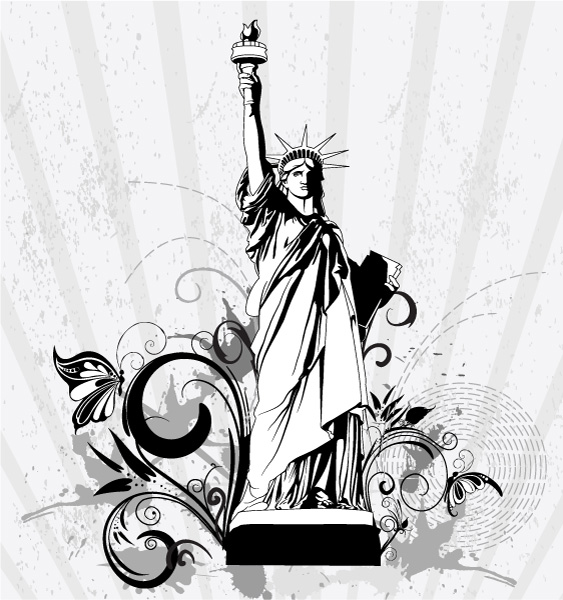 Statue Of Liberty With Floral Vector Illustration 16 06 2011 55