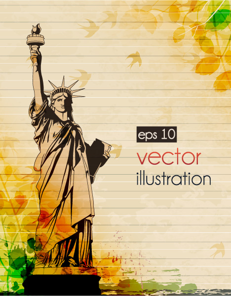 Statue Of Liberty With Grunge Vector Illustration 16 06 2011 58
