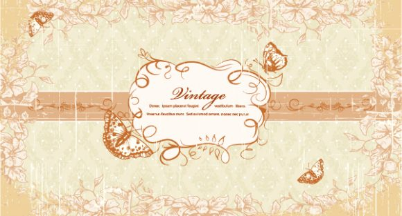 Grunge Floral Frame With Butterflies Vector Illustration Vector Illustrations old