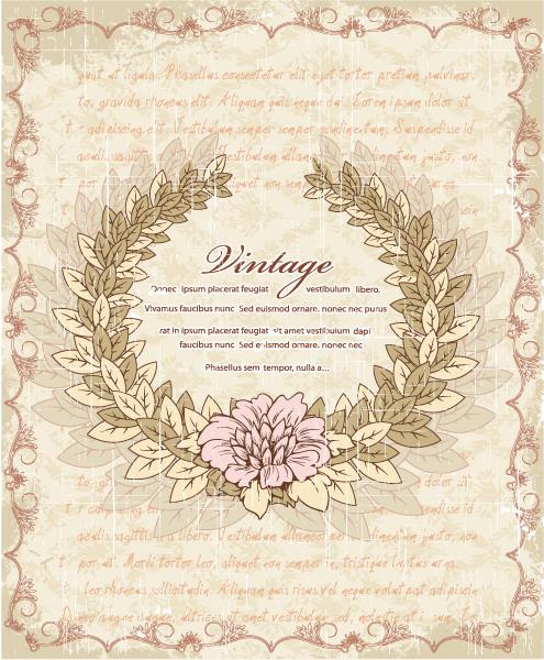 Download Floral Vector Art: Grunge Floral Frame Vector Art Illustration 1