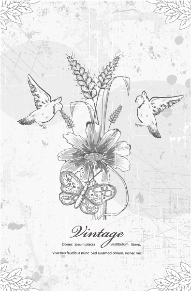 Birds, With, Floral Eps Vector Grunge Floral Background With Birds Vector Illustration 5