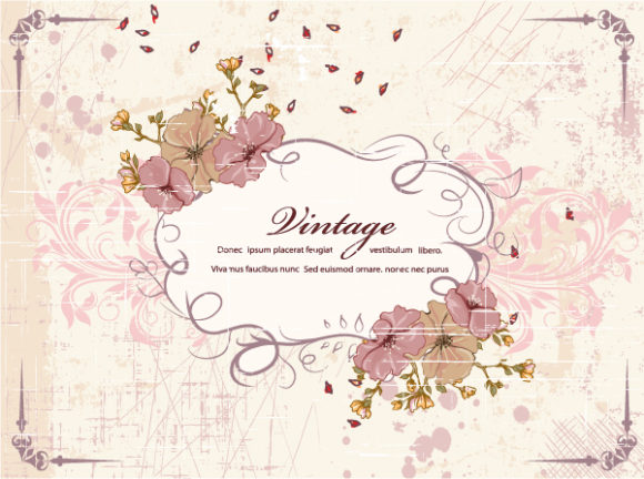 Grunge, Floral, Vector Vector Illustration Grunge Floral Frame Vector Illustration 16 12 2011 111
