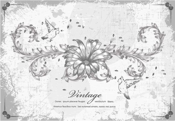 Background Vector Artwork Grunge Floral Background With Birds Vector Illustration 16 12 2011 112