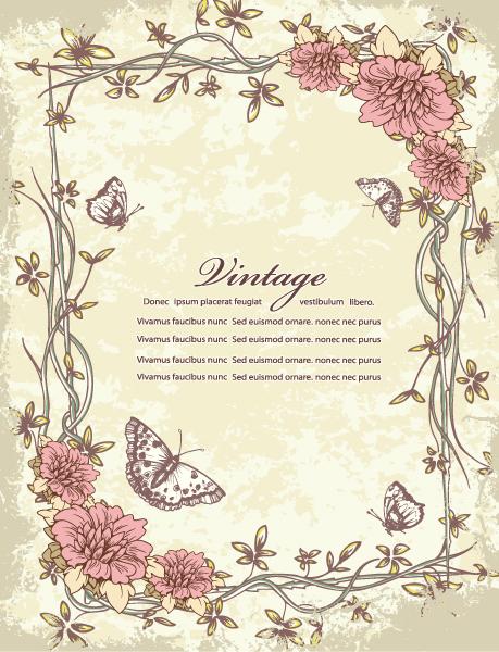 Best Dirty Vector Design: Grunge Floral Frame With Butterflies Vector Design Illustration 16 12 2011 114