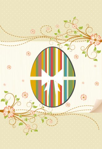 Vector Easter Background With Egg Vector Illustrations leaf