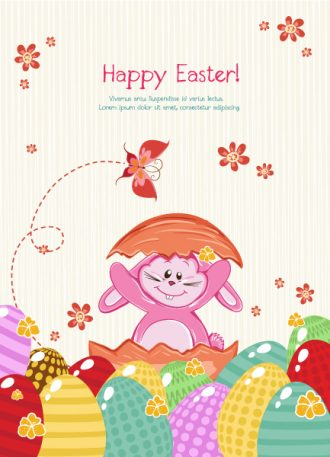 Vector Easter Background With Bunny Vector Illustrations vector