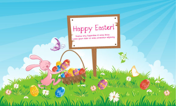 Vector Easter Background With Wood Sign 16 1 2012 110