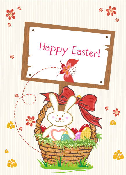 Vector Easter Background With Wood Sign 16 1 2012 112