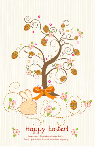 Vector Easter Background With Tree Vector Illustrations tree