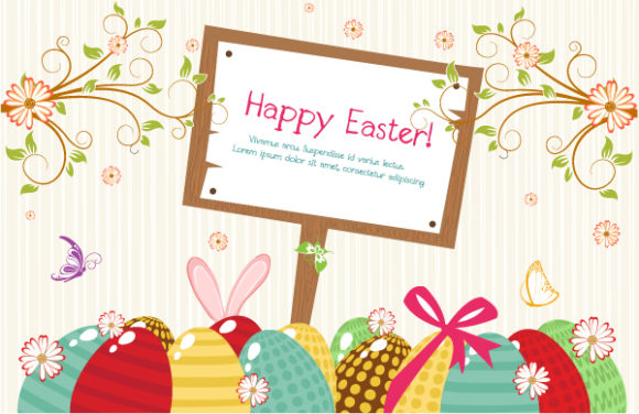 Gorgeous Sign Vector: Vector Easter Background With Wood Sign 16 1 2012 115