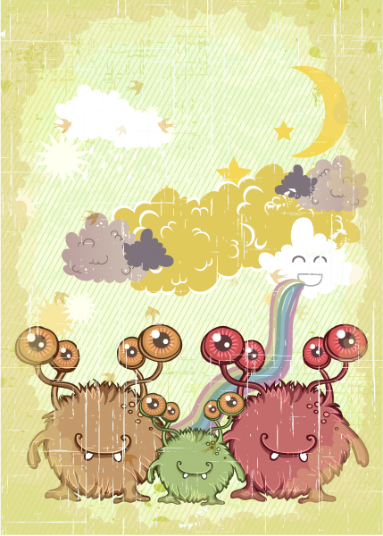Monsters, Vector, Vintage-2, Funny Vector Art Vector Funny Background With Monsters 16 3 2012 101