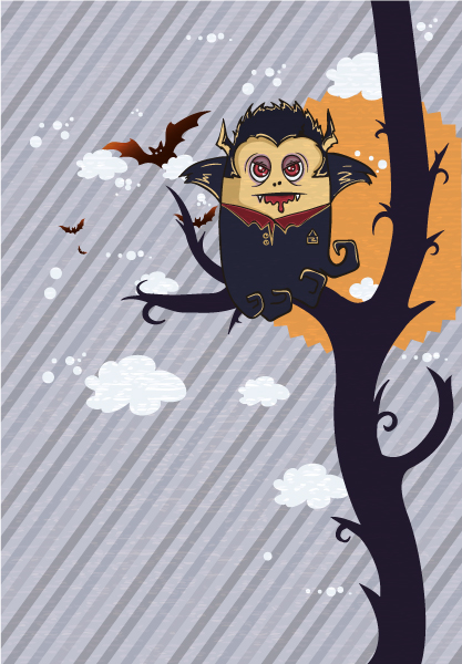 Striking Funny Vector Illustration: Vector Illustration Funny Background With Vampire 16 3 2012 103