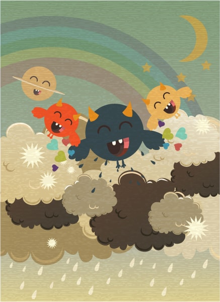 With, Vector Vector Illustration Vector Funny Background With Monster 16 3 2012 105