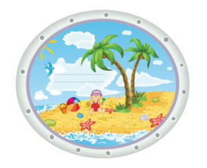 Kid Playing At The Beach Vector Illustration Vector Illustrations palm