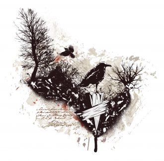 Vector Vintage Illustration With Ravens Vector Illustrations tree