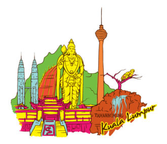 Kuala Lumpur Doodles Vector Illustration Vector Illustrations tree