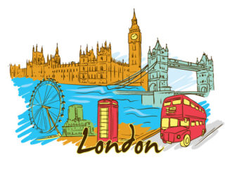 London Doodles Vector Illustration Vector Illustrations building