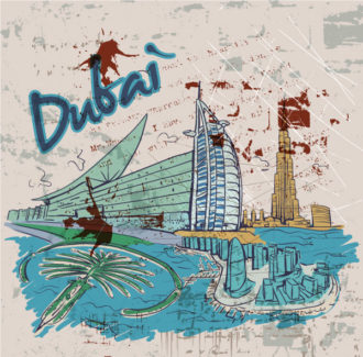 Dubai Doodles With Grunge Background Vector Illustration Vector Illustrations building