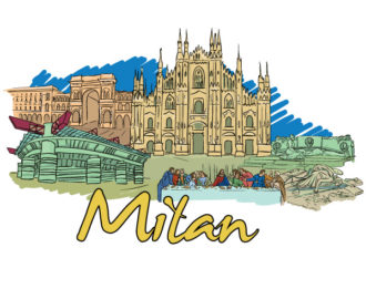 Milan Doodles Vector Illustration Vector Illustrations building