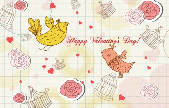 Best Birds Vector Art: Birds In Love Vector Art Illustration 17 11 2011 114