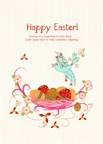 Vector Colorful Background With Eggs Vector Illustrations floral