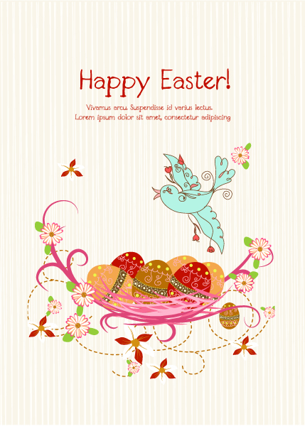 Best Nest Vector: Vector Colorful Background With Eggs 17 1 2012 111