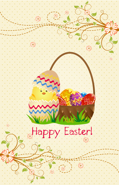 Vector Colorful Background With Basket Of Eggs 17 1 2012 114