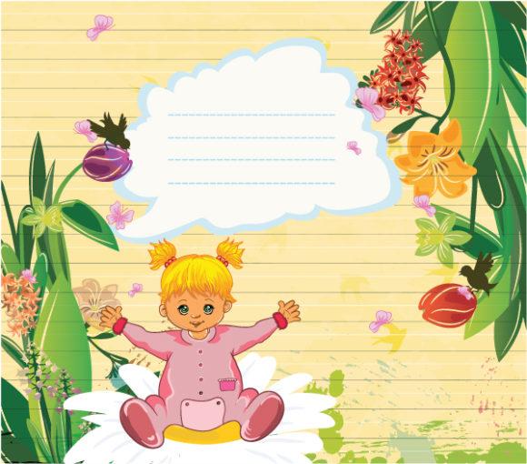 Brilliant Little Vector Background: Little Girl With Floral Vector Background Illustration 1