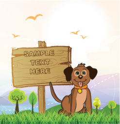 Vector Dog With Wood Sign Vector Illustrations tree
