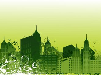 City With Grunge Vector Illustration Vector Illustrations building