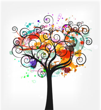 Vector Colorful Grunge With Tree Vector Illustrations tree