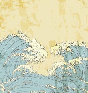 Japanese Waves Vector Illustration Vector Illustrations sea