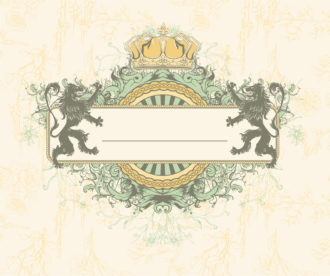 Vector Vintage Floral Frame With Lions Vector Illustrations old