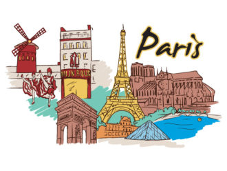 Paris Doodles Vector Illustration Vector Illustrations building