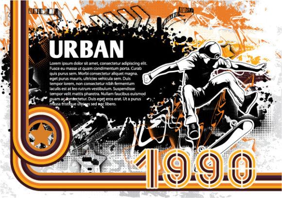 Retro Vector: Grunge Retro Background Vector Illustration 1