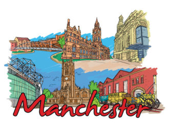 Manchester Doodles Vector Illustration Vector Illustrations building