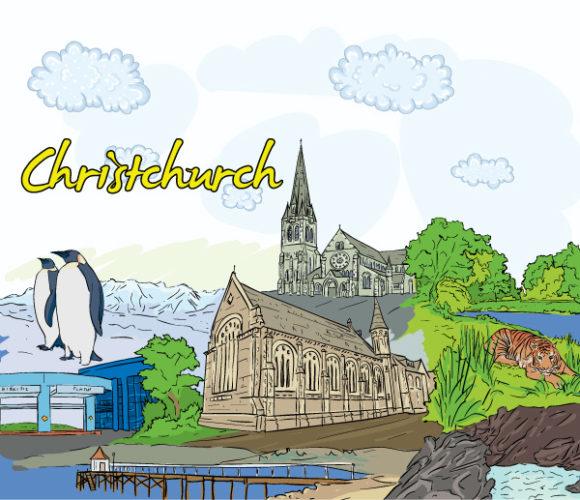 Christchurch, Illustration Vector Illustration Christchurch Doodles Vector Illustration 18 07 2011 65