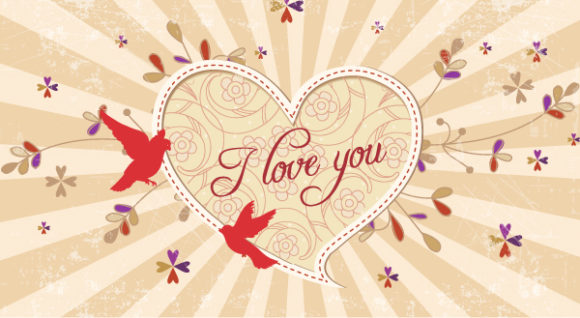 Brilliant Birds Vector Graphic: Valentines Day Vector Graphic Background 18 11 2011 106