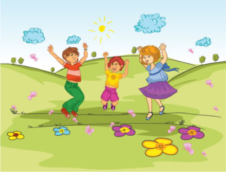 Kids Playing In The Park Vector Illustration Vector Illustrations floral