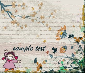 Vector Abstract Background With Cute Little Girl Vector Illustrations old