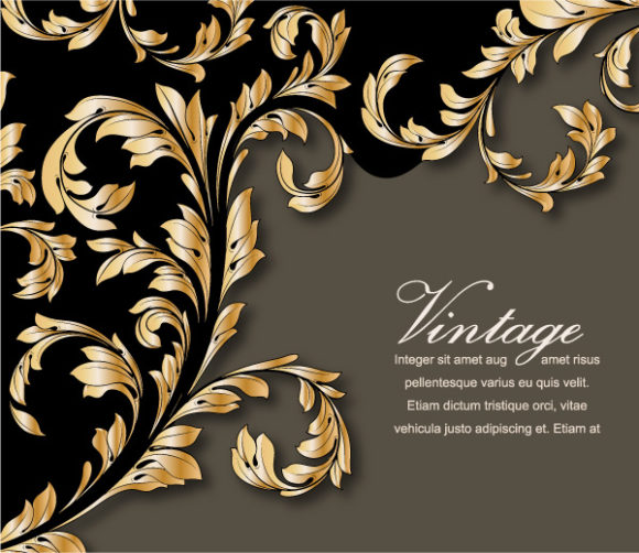 Vector Vintage Gold Floral Background 19 05 2011 61