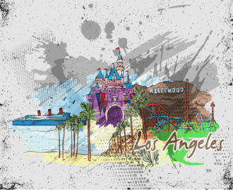 Los Angeles Doodles Vector Illustration Vector Illustrations palm